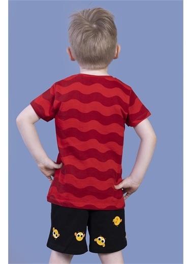 Toontoy Kids Toontoy Erkek Çocuk Dalga Desenli Şortlu Takım Kırmızı
